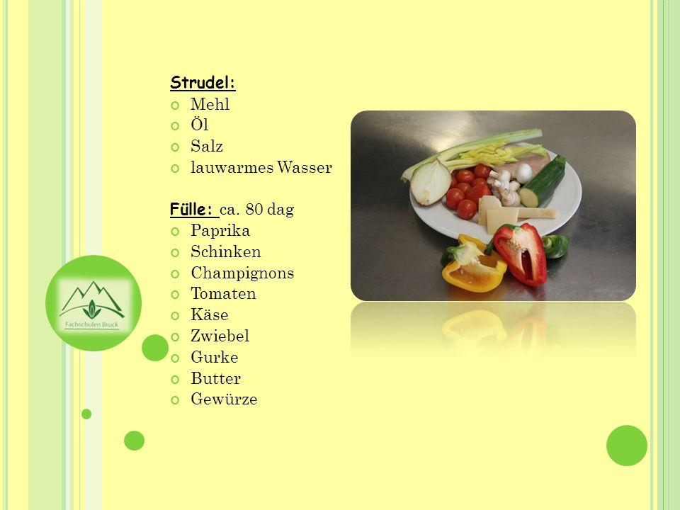 Strudel: Mehl Öl Salz lauwarmes Wasser Fülle: ca. 80 dag Paprika Schinken Champignons Tomaten Käse Zwiebel Gurke Butter Gewürze