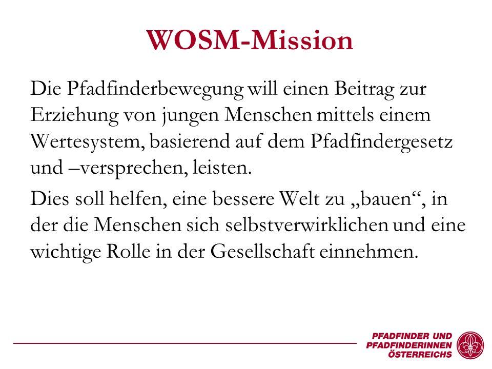 WOSM-Mission Die Pfadfinderbewegung will einen Beitrag zur Erziehung von jungen Menschen mittels einem Wertesystem, basierend auf dem Pfadfindergesetz und –versprechen, leisten.