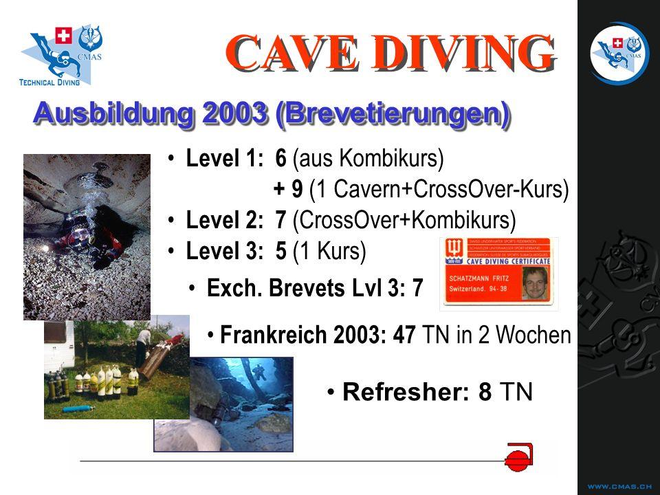 Ausbildung 2003 (Brevetierungen) Level 1:6 (aus Kombikurs) + 9 (1 Cavern+CrossOver-Kurs) Level 2:7 (CrossOver+Kombikurs) Level 3:5 (1 Kurs) CAVE DIVING Frankreich 2003: 47 TN in 2 Wochen Exch.