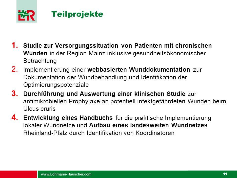 11 1. Studie zur Versorgungssituation von Patienten mit chronischen Wunden in der Region Mainz inklusive gesundheitsökonomischer Betrachtung 2. Implem