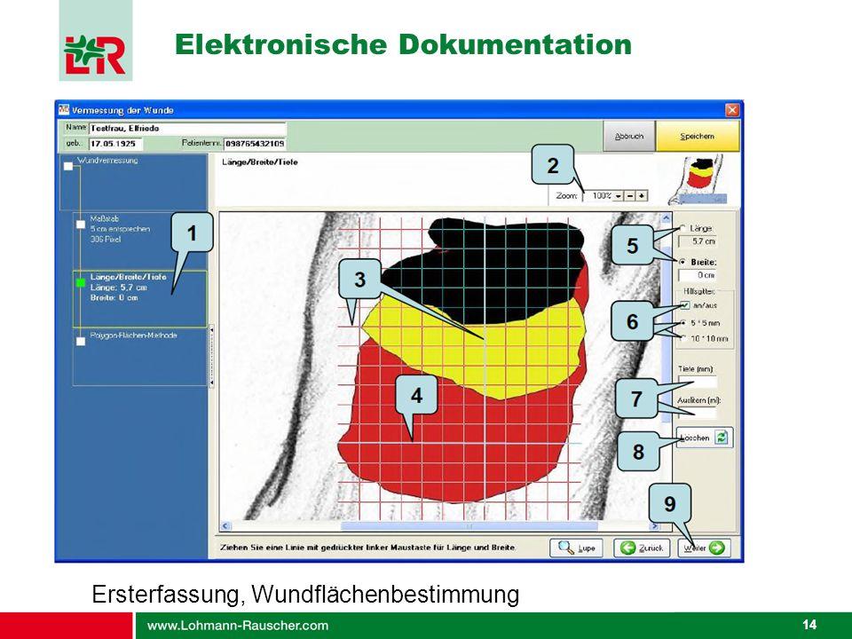 14 Elektronische Dokumentation Ersterfassung, Wundflächenbestimmung