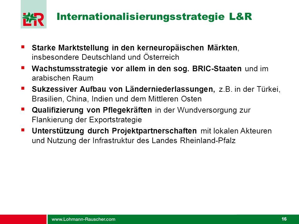 16 Internationalisierungsstrategie L&R Starke Marktstellung in den kerneuropäischen Märkten, insbesondere Deutschland und Österreich Wachstumsstrategi