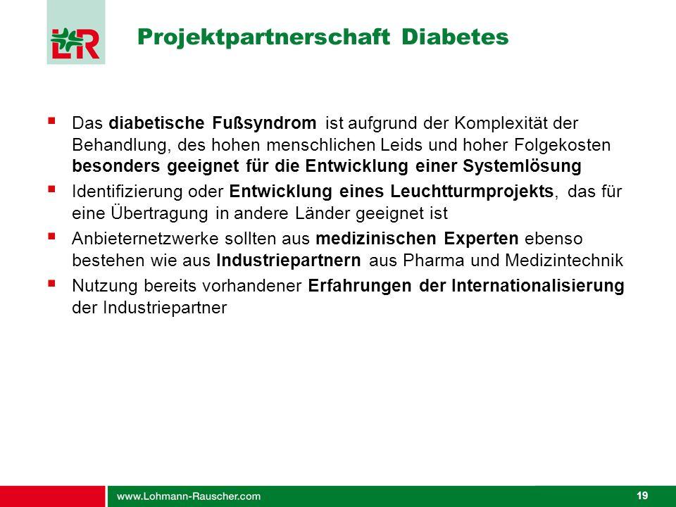 19 Projektpartnerschaft Diabetes Das diabetische Fußsyndrom ist aufgrund der Komplexität der Behandlung, des hohen menschlichen Leids und hoher Folgek