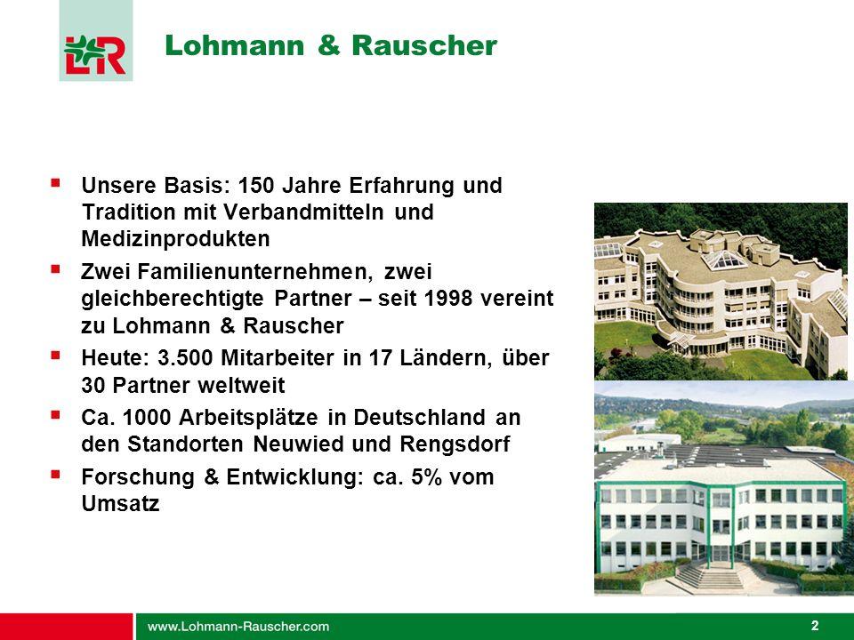 2 Lohmann & Rauscher Unsere Basis: 150 Jahre Erfahrung und Tradition mit Verbandmitteln und Medizinprodukten Zwei Familienunternehmen, zwei gleichbere