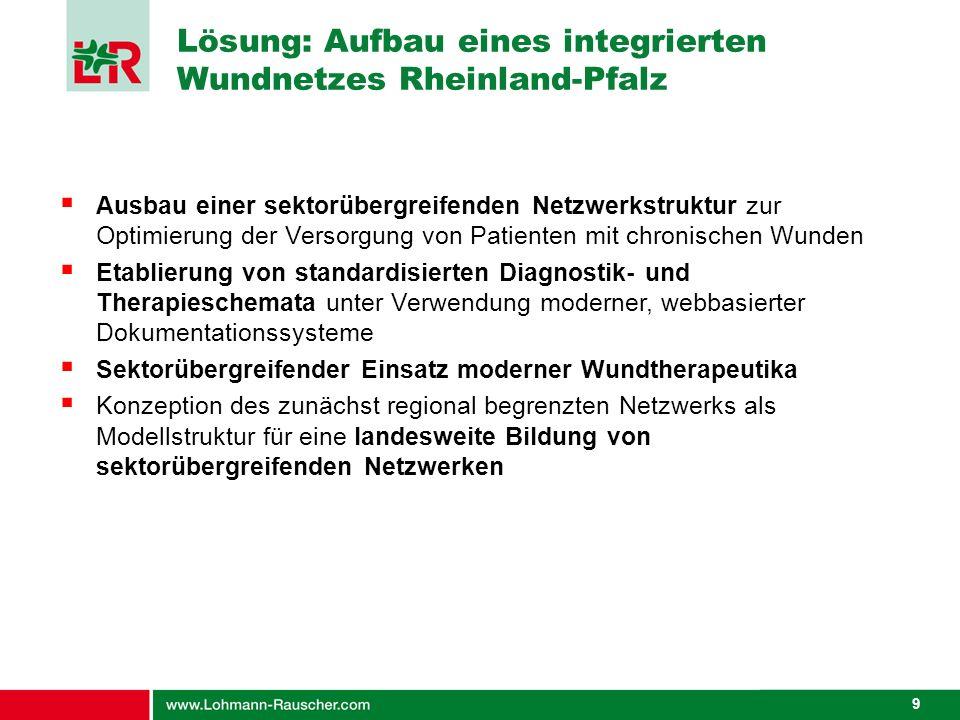 9 Lösung: Aufbau eines integrierten Wundnetzes Rheinland-Pfalz Ausbau einer sektorübergreifenden Netzwerkstruktur zur Optimierung der Versorgung von P