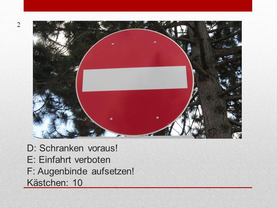 D: Schranken voraus! E: Einfahrt verboten F: Augenbinde aufsetzen! Kästchen: 10 2