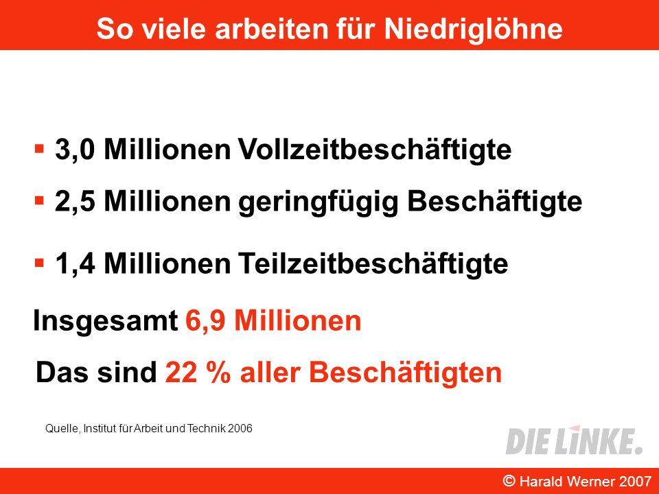 So viele arbeiten für Niedriglöhne 3,0 Millionen Vollzeitbeschäftigte © Harald Werner 2007 2,5 Millionen geringfügig Beschäftigte 1,4 Millionen Teilze