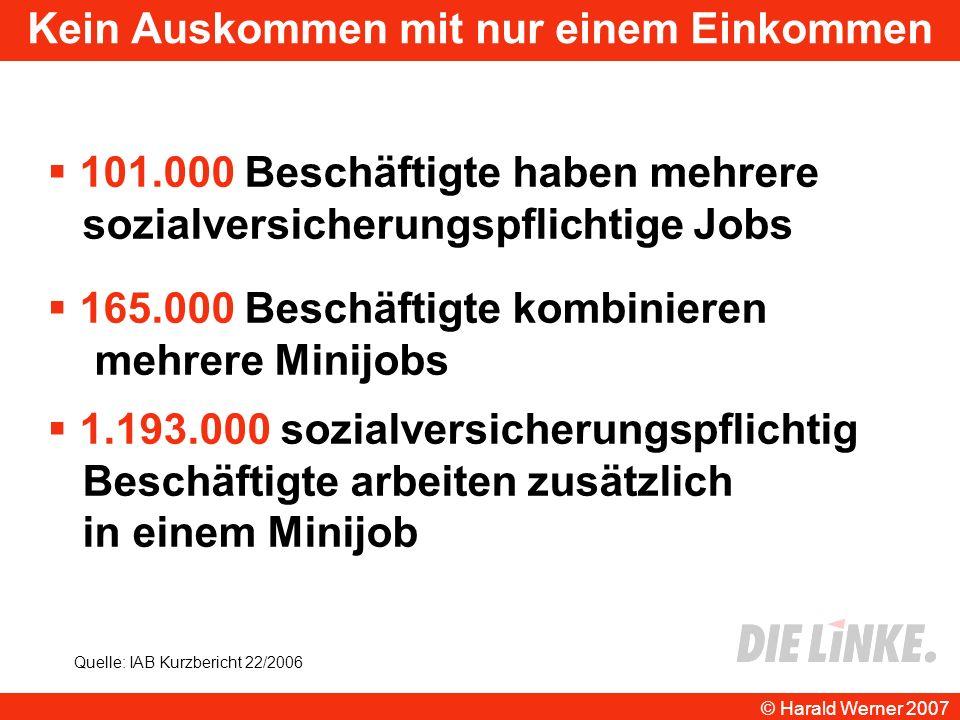 Kein Auskommen mit nur einem Einkommen 165.000 Beschäftigte kombinieren mehrere Minijobs 1.193.000 sozialversicherungspflichtig Beschäftigte arbeiten