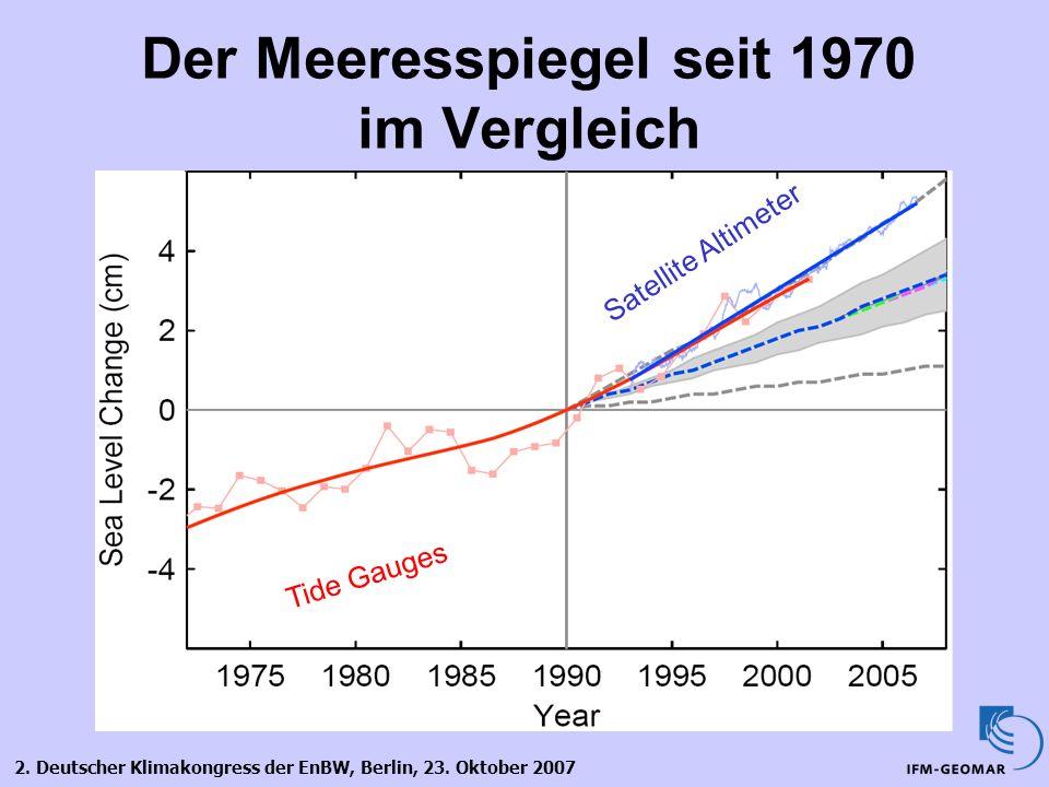 2. Deutscher Klimakongress der EnBW, Berlin, 23. Oktober 2007 Der Meeresspiegel seit 1970 im Vergleich Tide Gauges Satellite Altimeter