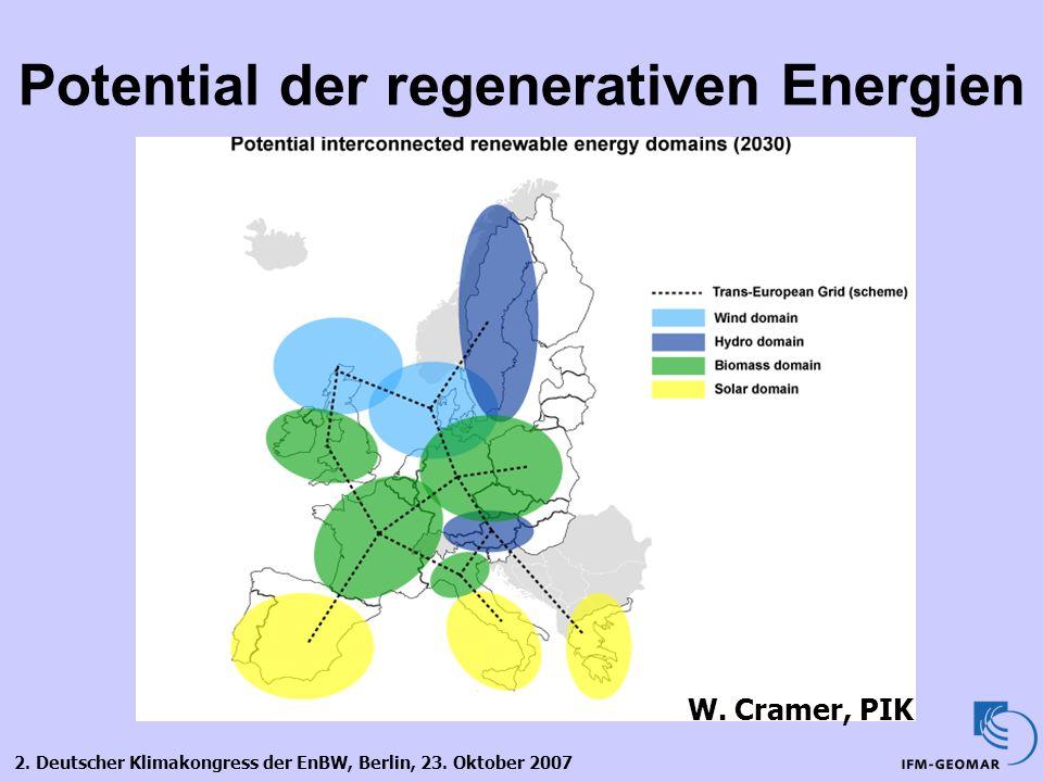 2. Deutscher Klimakongress der EnBW, Berlin, 23. Oktober 2007 Potential der regenerativen Energien W. Cramer, PIK