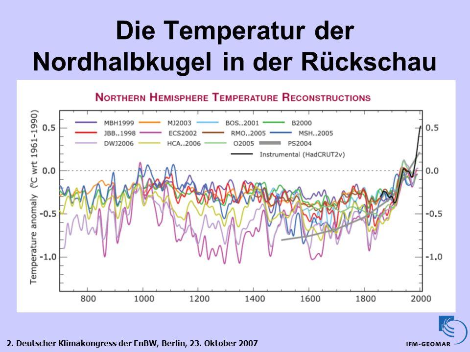 2. Deutscher Klimakongress der EnBW, Berlin, 23. Oktober 2007 Die Temperatur der Nordhalbkugel in der Rückschau