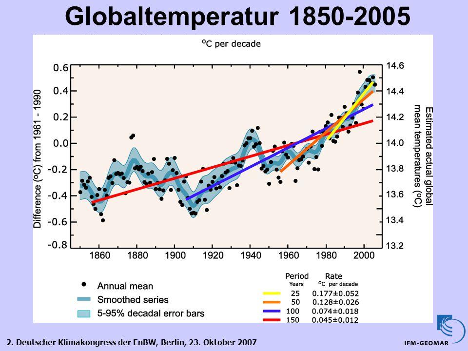 2. Deutscher Klimakongress der EnBW, Berlin, 23. Oktober 2007 Globaltemperatur 1850-2005
