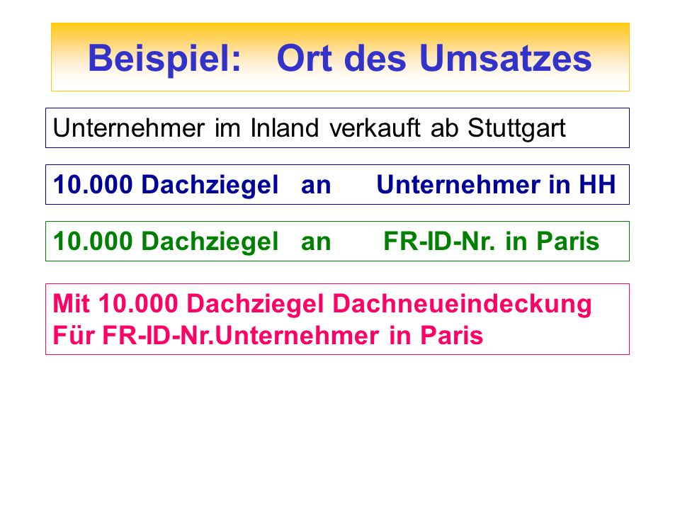 Beispiel: Ort des Umsatzes Mit 10.000 Dachziegel Dachneueindeckung Für FR-ID-Nr.Unternehmer in Paris Unternehmer im Inland verkauft ab Stuttgart 10.00