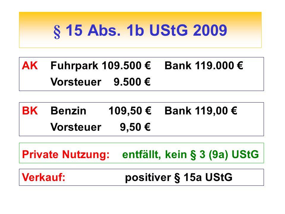 § 15 Abs. 1b UStG 2009 AKFuhrpark 109.500 Bank 119.000 Vorsteuer 9.500 BKBenzin 109,50 Bank 119,00 Vorsteuer 9,50 Private Nutzung: entfällt, kein § 3