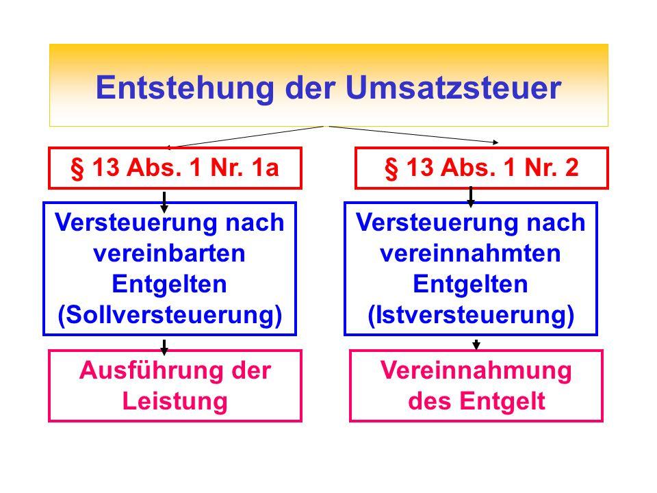 Entstehung der Umsatzsteuer § 13 Abs. 1 Nr. 1a Versteuerung nach vereinbarten Entgelten (Sollversteuerung) Ausführung der Leistung § 13 Abs. 1 Nr. 2 V