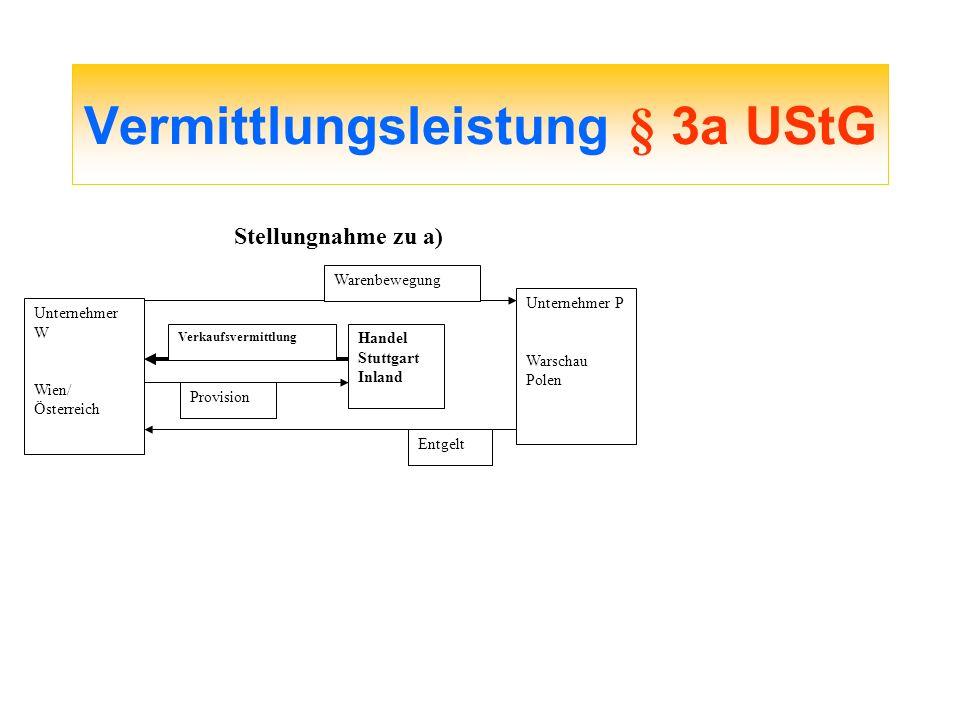 Vermittlungsleistung § 3a UStG Unternehmer W Wien/ Österreich Unternehmer P Warschau Polen Warenbewegung Entgelt Handel Stuttgart Inland Provision Ver