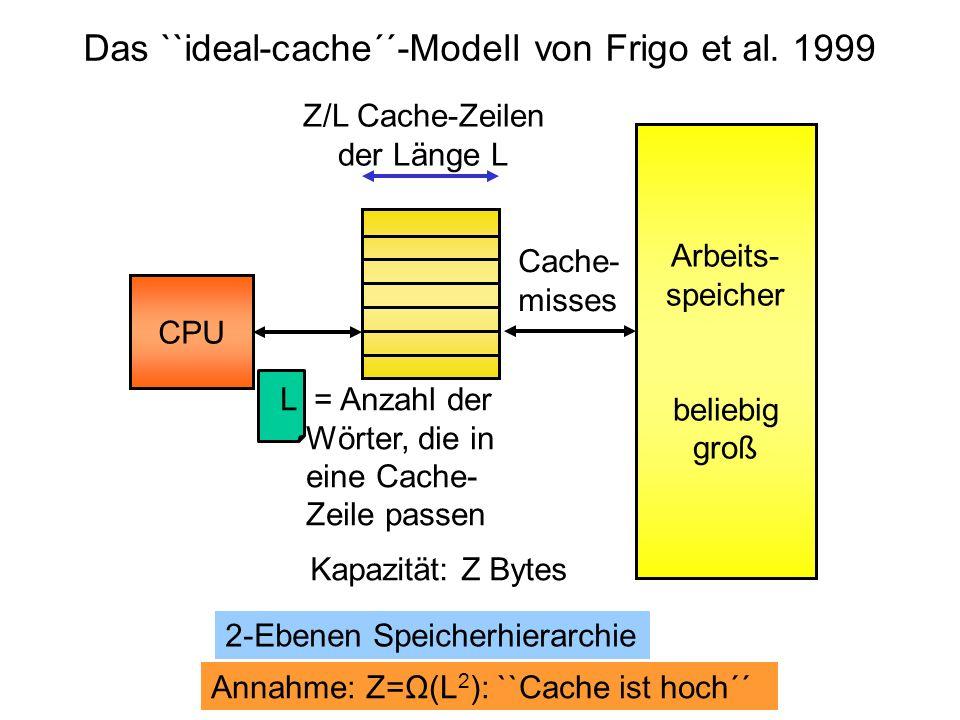 Z/L Cache-Zeilen der Länge L L = Anzahl der Wörter, die in eine Cache- Zeile passen CPU Arbeits- speicher beliebig groß Das ``ideal-cache´´-Modell von
