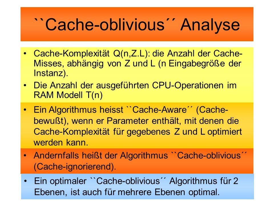 ``Cache-oblivious´´ Analyse Cache-Komplexität Q(n,Z.L): die Anzahl der Cache- Misses, abhängig von Z und L (n Eingabegröße der Instanz). Die Anzahl de
