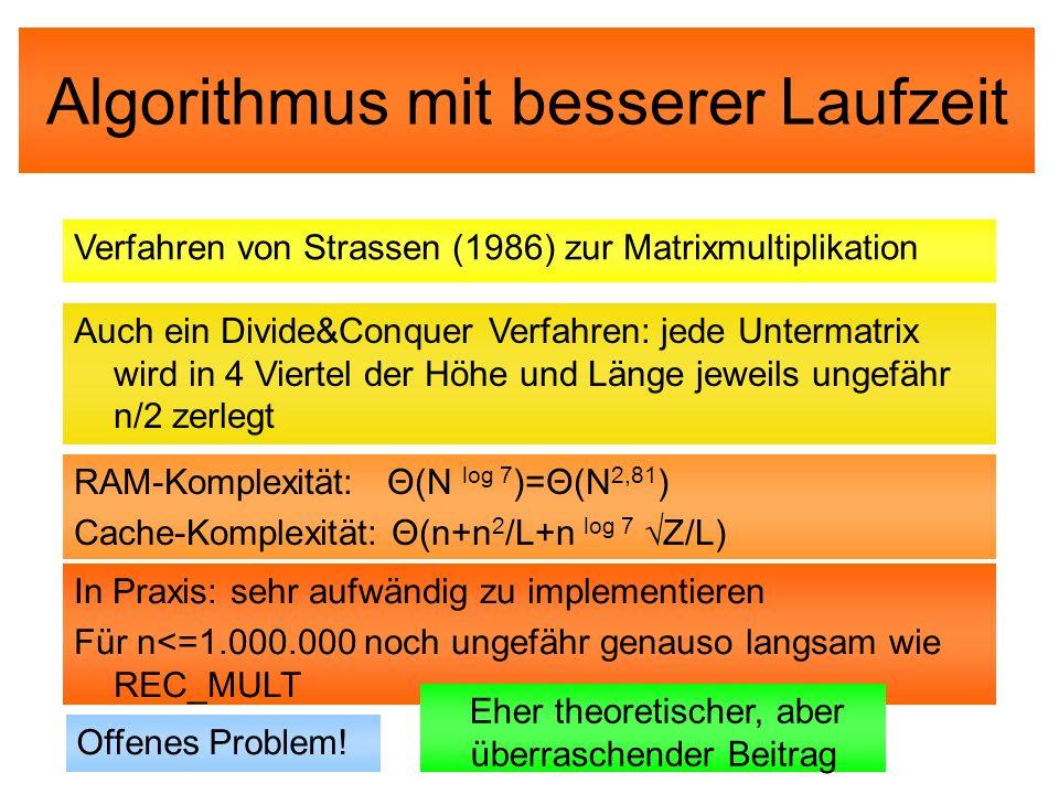 Algorithmus mit besserer Laufzeit Verfahren von Strassen (1986) zur Matrixmultiplikation Auch ein Divide&Conquer Verfahren: jede Untermatrix wird in 4