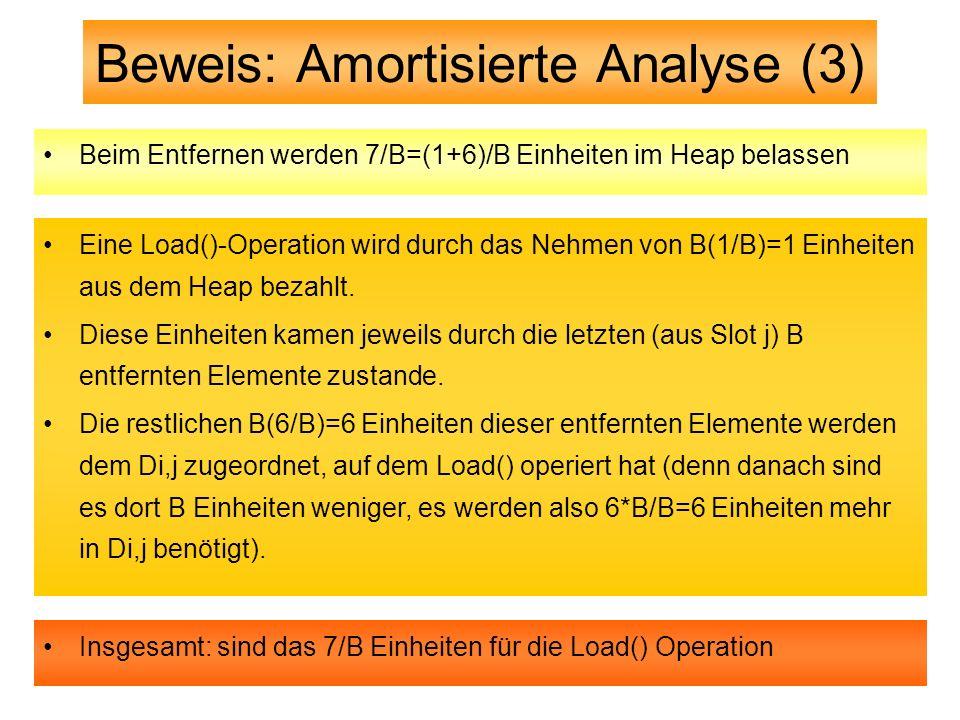 Beweis: Amortisierte Analyse (3) Beim Entfernen werden 7/B=(1+6)/B Einheiten im Heap belassen Eine Load()-Operation wird durch das Nehmen von B(1/B)=1