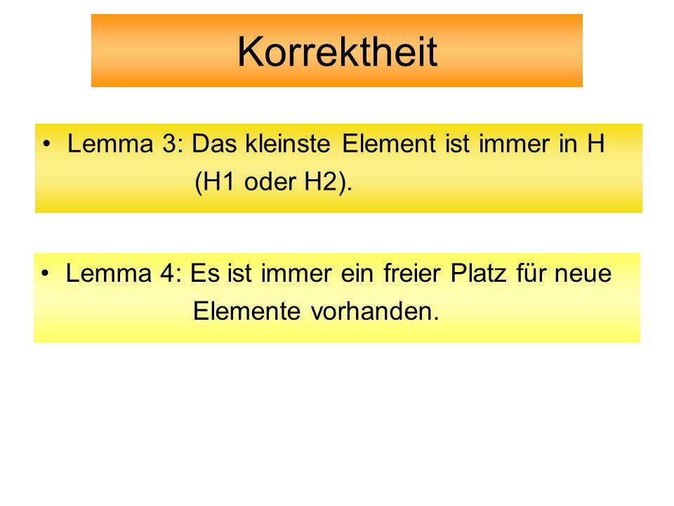 Korrektheit Lemma 3: Das kleinste Element ist immer in H (H1 oder H2).