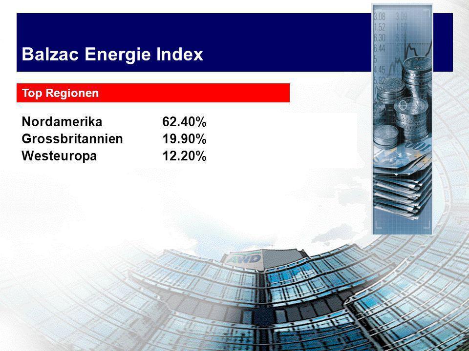 Balzac Energie Index Nordamerika 62.40% Grossbritannien19.90% Westeuropa12.20% Top Regionen