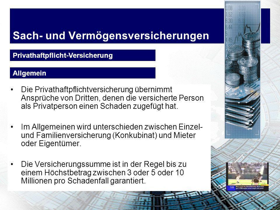 Sach- und Vermögensversicherungen Personenschäden d.h.