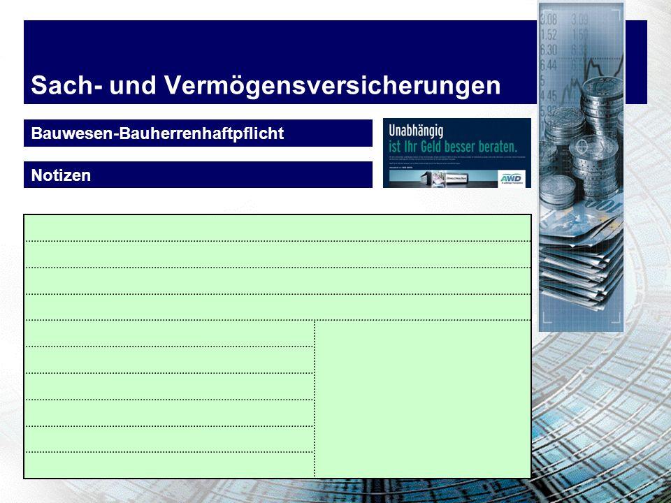 Sach- und Vermögensversicherungen Bauwesen-Bauherrenhaftpflicht Notizen