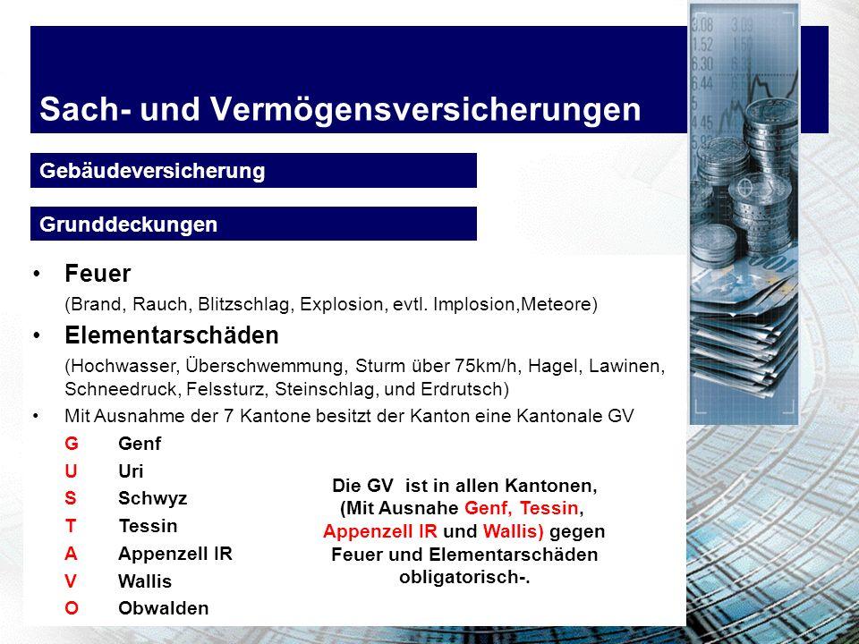 Sach- und Vermögensversicherungen Gebäudeversicherung Feuer (Brand, Rauch, Blitzschlag, Explosion, evtl.