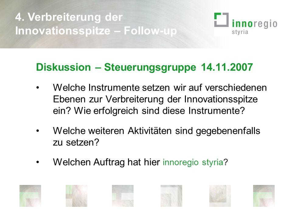 Diskussion – Steuerungsgruppe 14.11.2007 Welche Instrumente setzen wir auf verschiedenen Ebenen zur Verbreiterung der Innovationsspitze ein.
