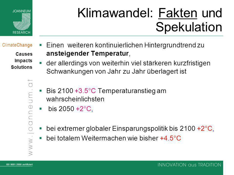 11 Climate Change Causes Impacts Solutions Klimawandel: Fakten und Spekulation Einen weiteren kontinuierlichen Hintergrundtrend zu ansteigender Temperatur, der allerdings von weiterhin viel stärkeren kurzfristigen Schwankungen von Jahr zu Jahr überlagert ist Bis 2100 +3.5°C Temperaturanstieg am wahrscheinlichsten bis 2050 +2°C, bei extremer globaler Einsparungspolitik bis 2100 +2°C, bei totalem Weitermachen wie bisher +4.5°C