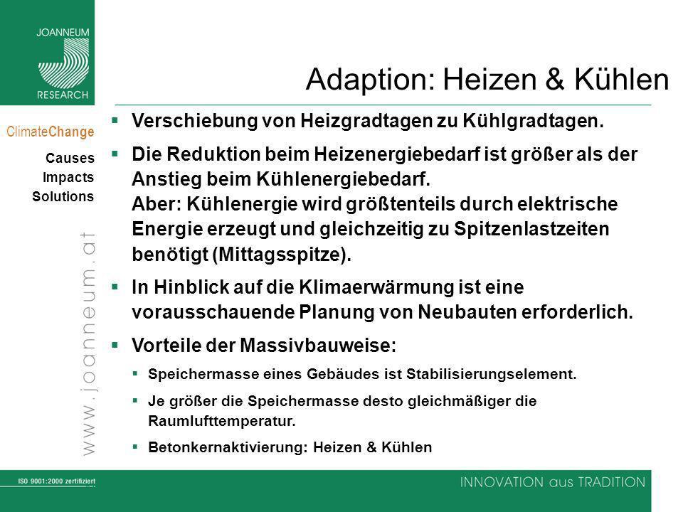 34 Climate Change Causes Impacts Solutions Adaption: Heizen & Kühlen Verschiebung von Heizgradtagen zu Kühlgradtagen. Die Reduktion beim Heizenergiebe