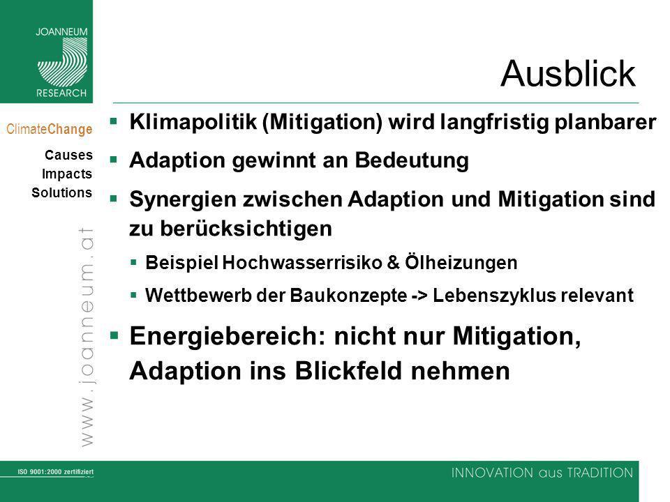35 Climate Change Causes Impacts Solutions Ausblick Klimapolitik (Mitigation) wird langfristig planbarer Adaption gewinnt an Bedeutung Synergien zwisc