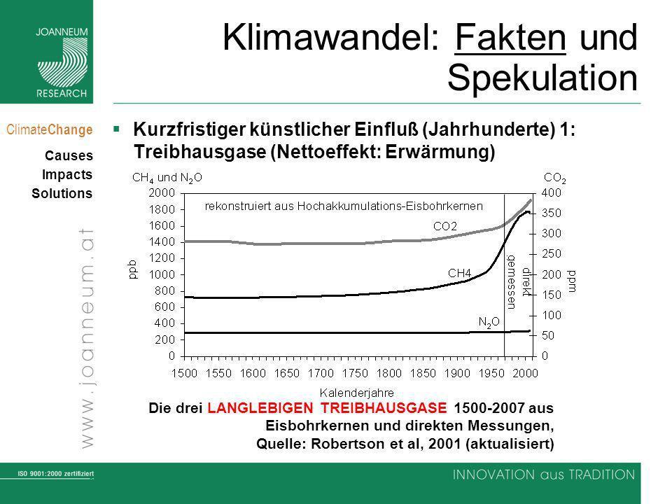 8 Climate Change Causes Impacts Solutions Klimawandel: Fakten und Spekulation Kurzfristiger künstlicher Einfluß (Jahrhunderte) 1: Treibhausgase (Nettoeffekt: Erwärmung) Die drei LANGLEBIGEN TREIBHAUSGASE 1500-2007 aus Eisbohrkernen und direkten Messungen, Quelle: Robertson et al, 2001 (aktualisiert)