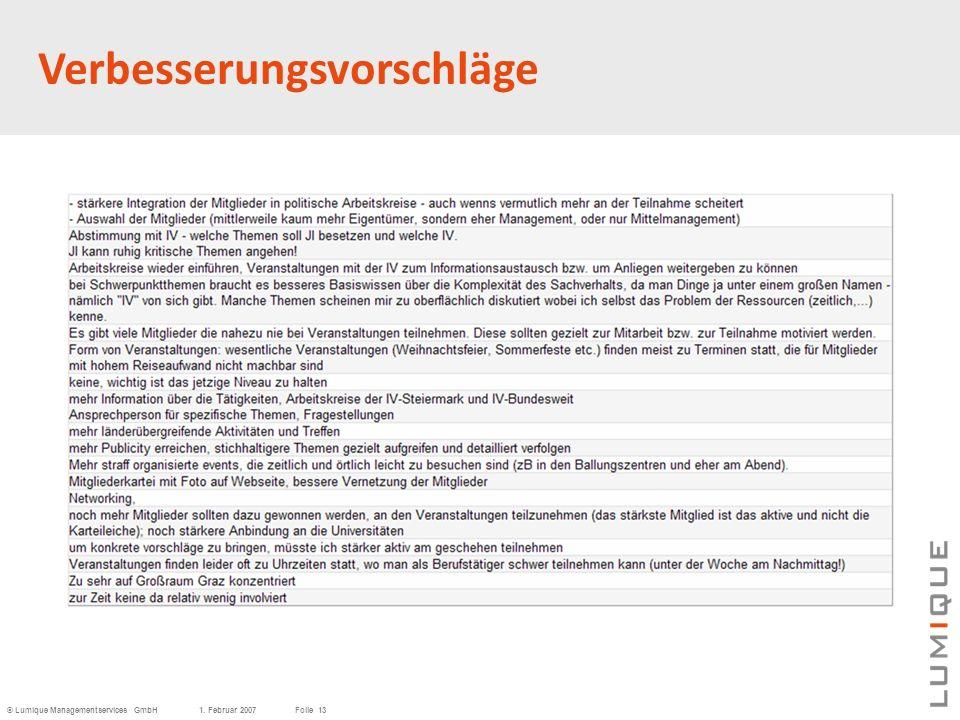 © Lumique Managementservices GmbH1. Februar 2007Folie 13 Verbesserungsvorschläge