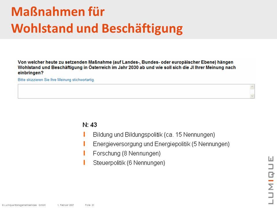 © Lumique Managementservices GmbH1. Februar 2007Folie 21 Maßnahmen für Wohlstand und Beschäftigung