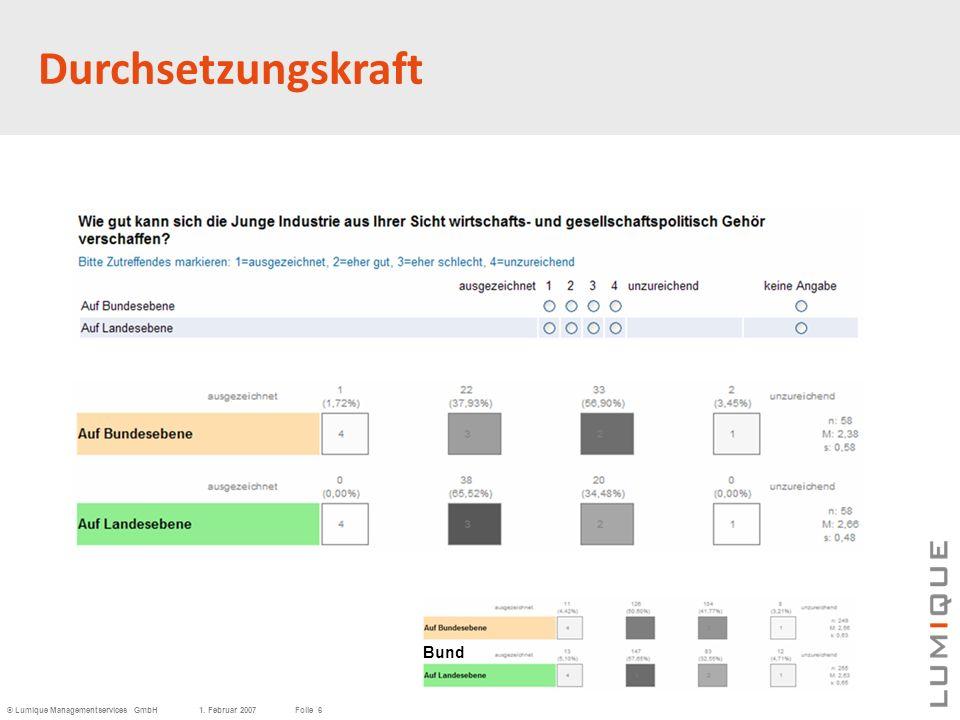 © Lumique Managementservices GmbH1. Februar 2007Folie 6 Durchsetzungskraft Bund