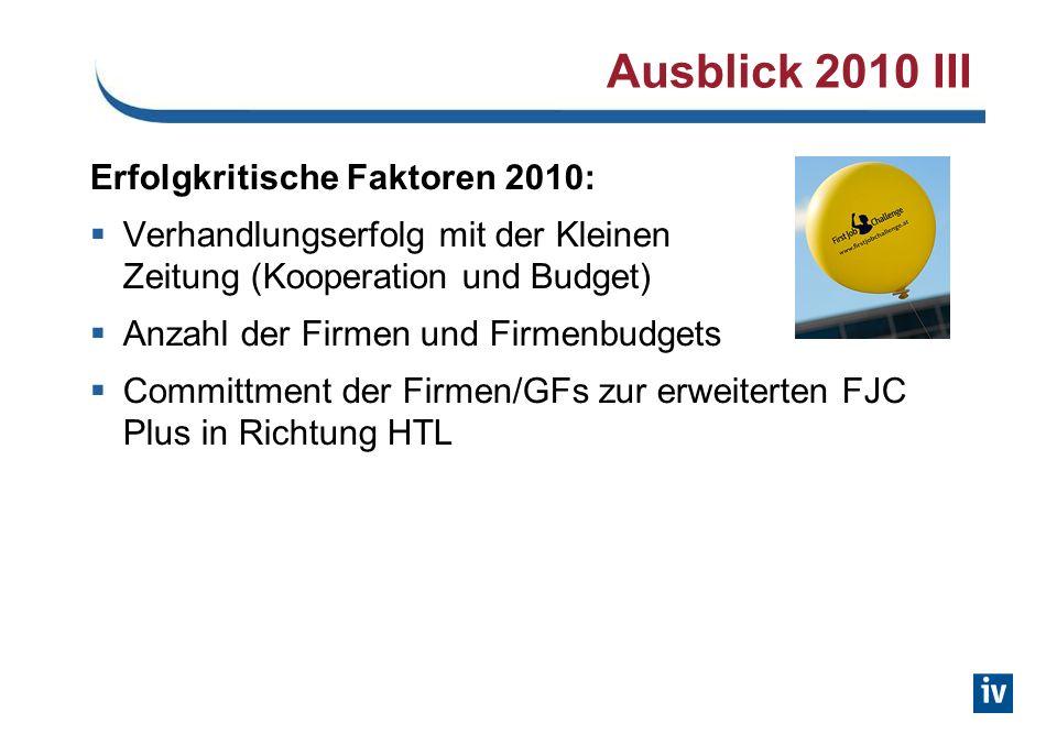 Ausblick 2010 III Erfolgkritische Faktoren 2010: Verhandlungserfolg mit der Kleinen Zeitung (Kooperation und Budget) Anzahl der Firmen und Firmenbudgets Committment der Firmen/GFs zur erweiterten FJC Plus in Richtung HTL