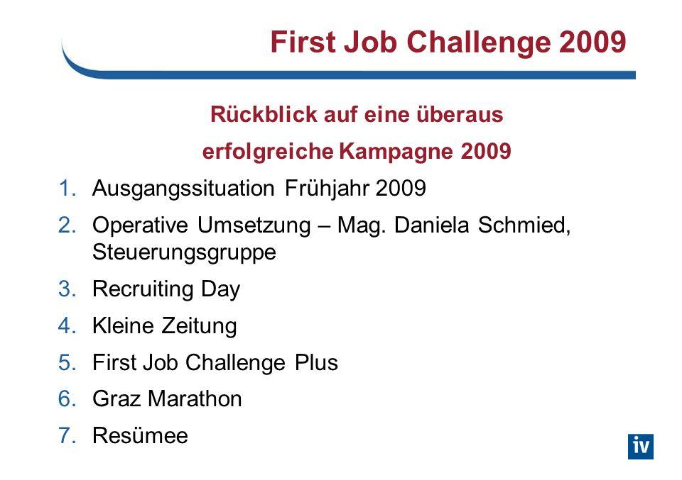 First Job Challenge 2009 Rückblick auf eine überaus erfolgreiche Kampagne 2009 1.Ausgangssituation Frühjahr 2009 2.Operative Umsetzung – Mag.