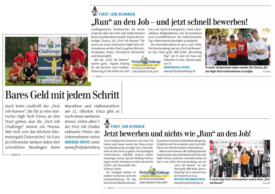 First Job Challenge PLUS 4x1m Transparente auf Grazer Laufstrecken