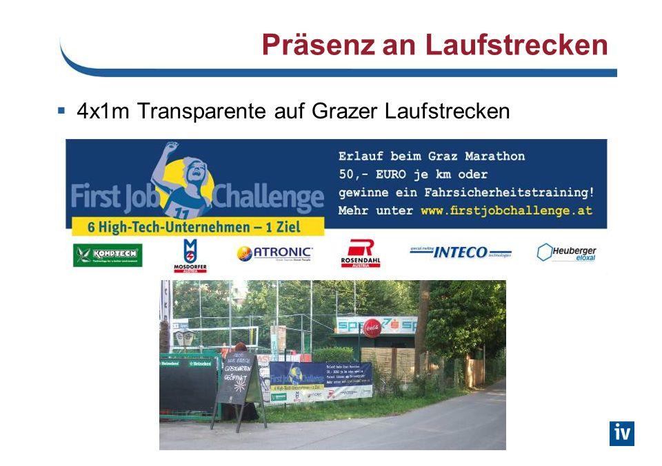 Präsenz an Laufstrecken 4x1m Transparente auf Grazer Laufstrecken