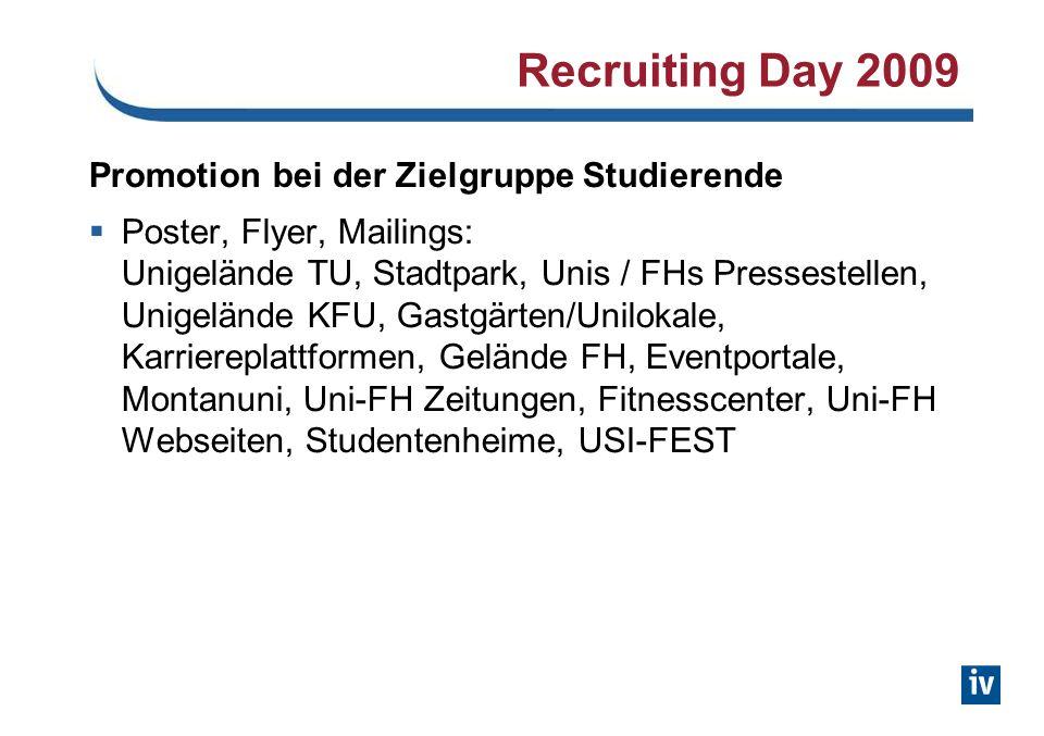 Recruiting Day 2009 Promotion bei der Zielgruppe Studierende Poster, Flyer, Mailings: Unigelände TU, Stadtpark, Unis / FHs Pressestellen, Unigelände K