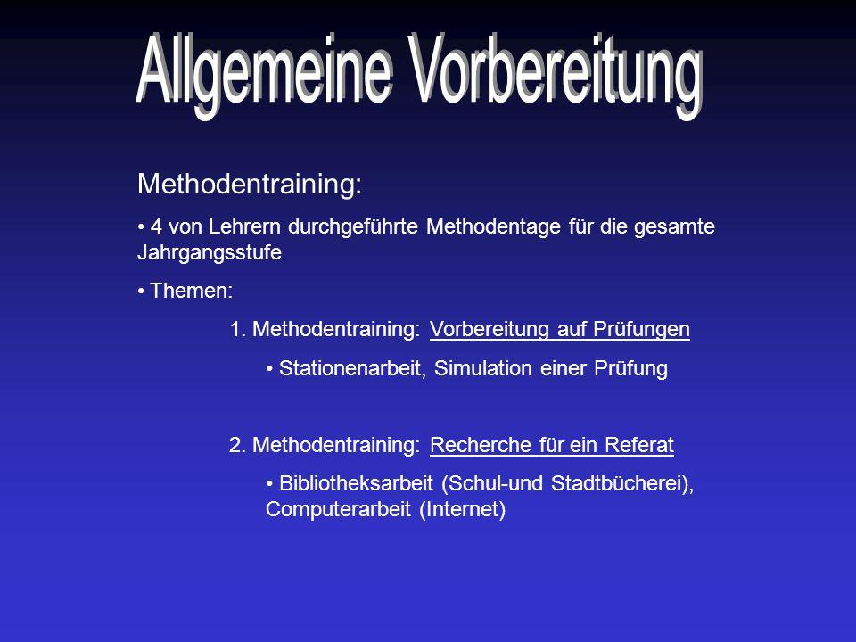 Methodentraining: 4 von Lehrern durchgeführte Methodentage für die gesamte Jahrgangsstufe Themen: 1.