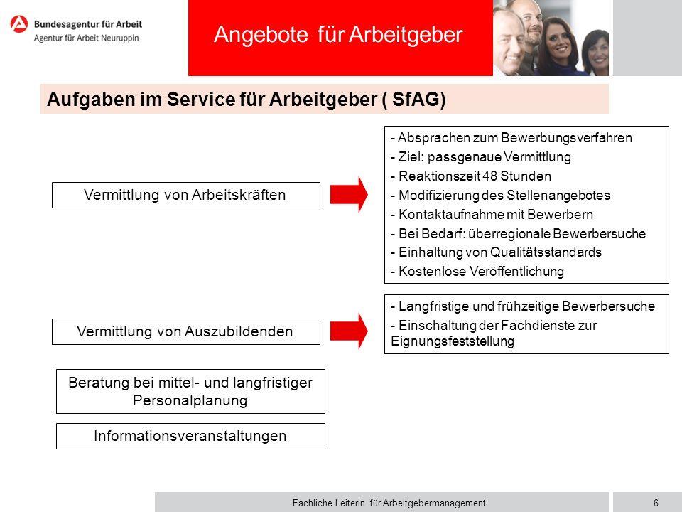 Fachliche Leiterin für Arbeitgebermanagement Angebote für Arbeitgeber Aufgaben im Service für Arbeitgeber ( SfAG) - Absprachen zum Bewerbungsverfahren