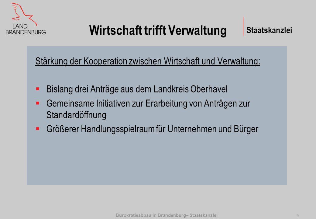 Bürokratieabbau in Brandenburg– Staatskanzlei 9 Wirtschaft trifft Verwaltung Stärkung der Kooperation zwischen Wirtschaft und Verwaltung: Bislang drei