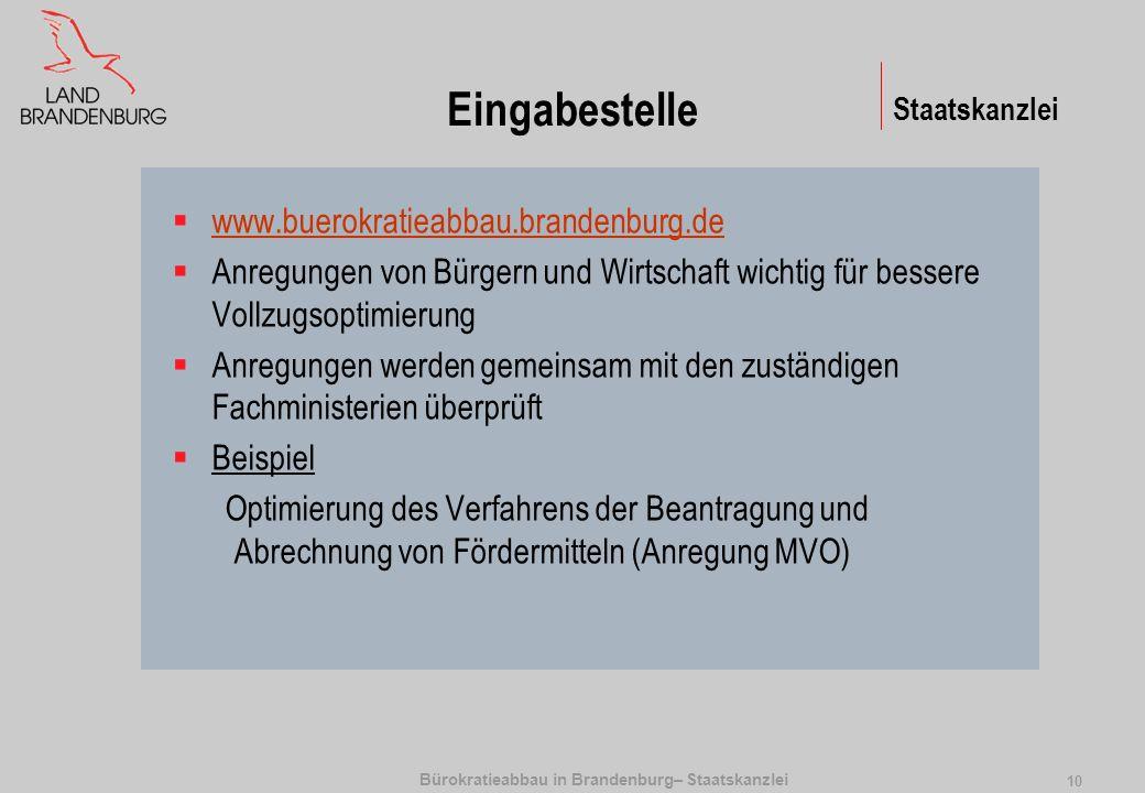 Bürokratieabbau in Brandenburg– Staatskanzlei 10 Eingabestelle www.buerokratieabbau.brandenburg.de Anregungen von Bürgern und Wirtschaft wichtig für b
