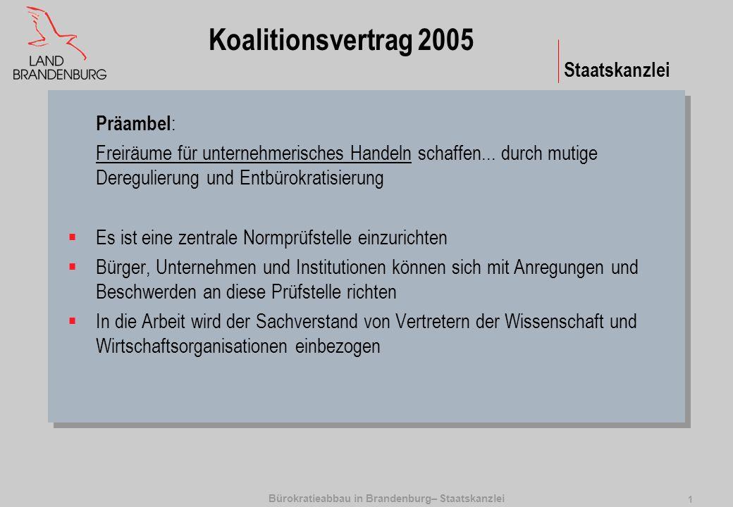 Bürokratieabbau in Brandenburg– Staatskanzlei 2 Staatskanzlei Ziele und Instrumente Abbau von überflüssigen Normen und Standards 1.