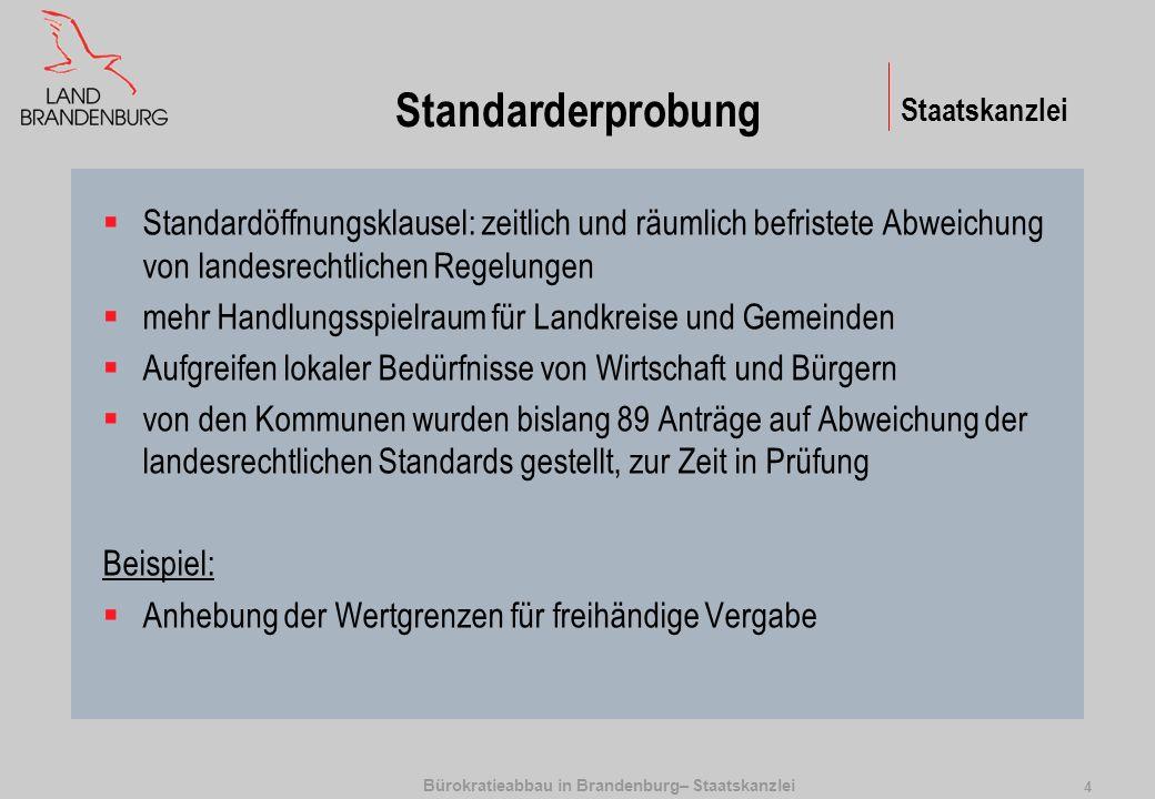 Bürokratieabbau in Brandenburg– Staatskanzlei 5 Staatskanzlei Standard-Kosten-Modell Gesetzesfolgen für Unternehmen Direkte finanzielle KostenBefolgungskosten Inhaltliche Verpflichtung Monetäre Leistungen (Steuerbetrag) Sachkosten (Schadstoff-filter) Informations- pflicht Administrative Lasten (AL) Psycho-logische Kosten