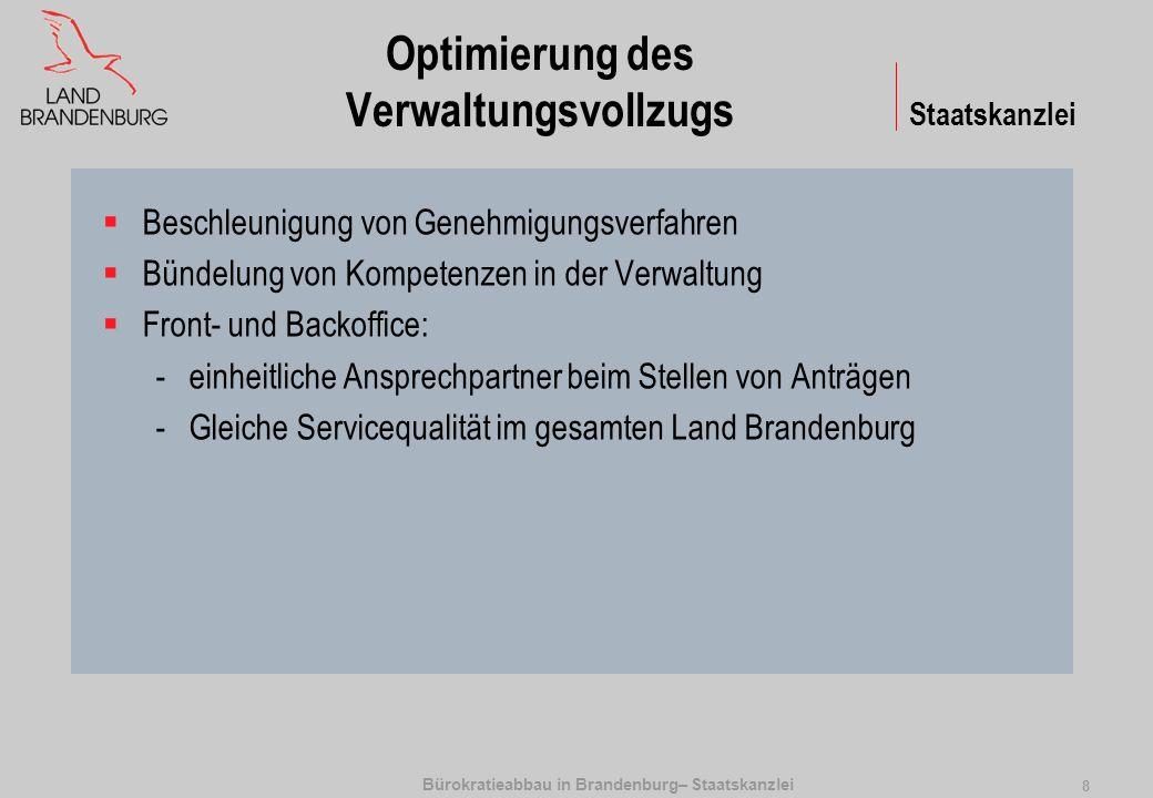 Bürokratieabbau in Brandenburg– Staatskanzlei 8 Optimierung des Verwaltungsvollzugs Beschleunigung von Genehmigungsverfahren Bündelung von Kompetenzen