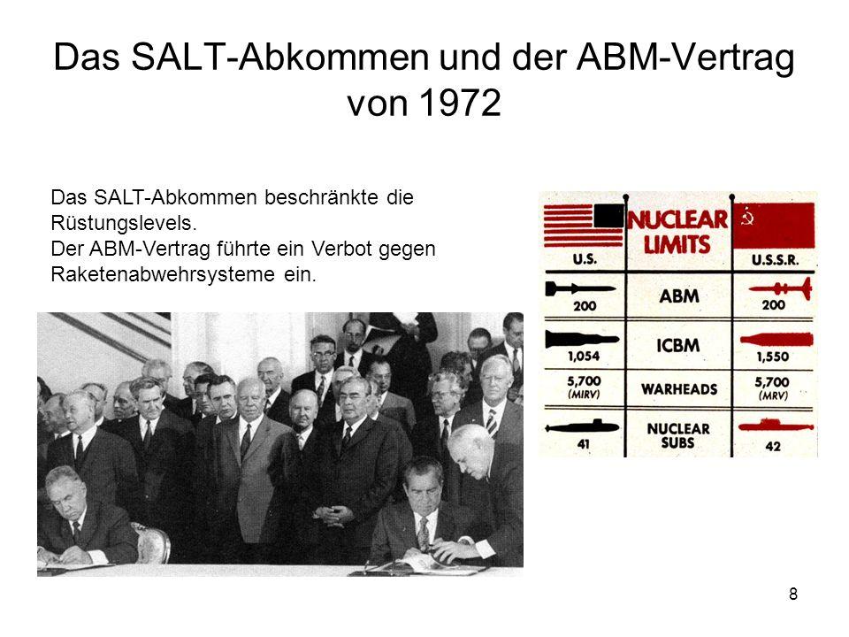 8 Das SALT-Abkommen und der ABM-Vertrag von 1972 Das SALT-Abkommen beschränkte die Rüstungslevels. Der ABM-Vertrag führte ein Verbot gegen Raketenabwe